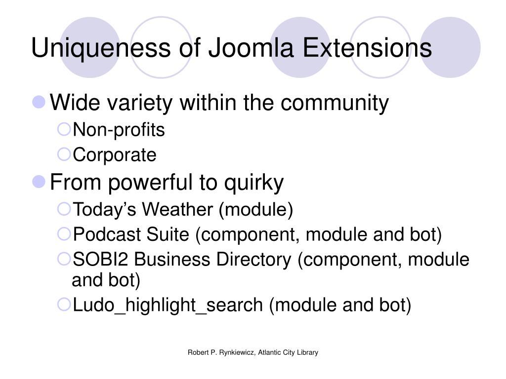 Uniqueness of Joomla Extensions