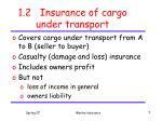 1 2 insurance of cargo under transport