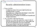 security administration issues