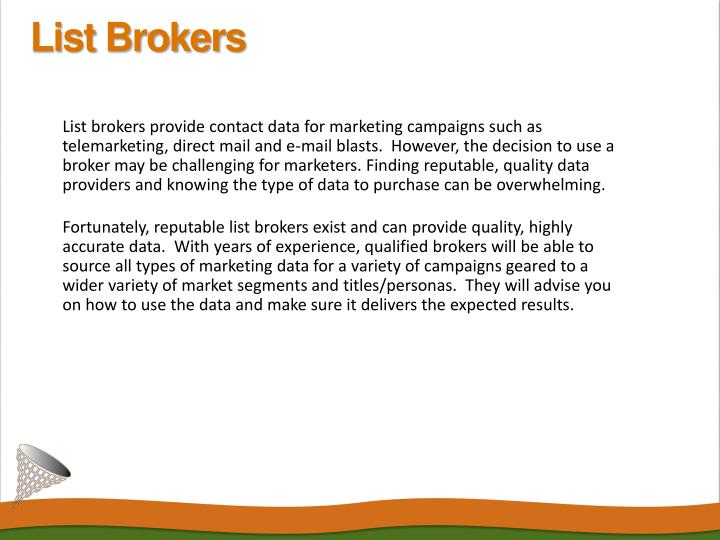 Direct Mail List Brokers