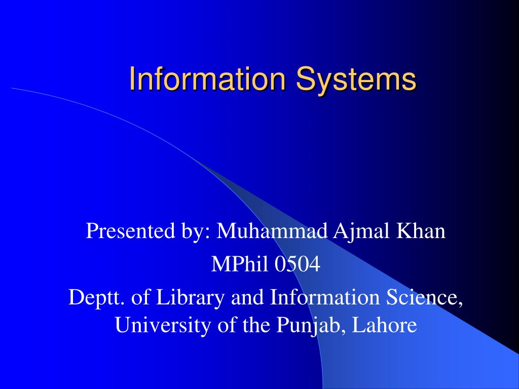 information systems l.