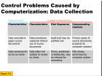 control problems caused by computerization data collection