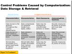 control problems caused by computerization data storage retrieval