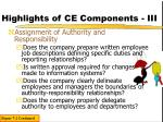 highlights of ce components iii