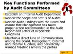 key functions performed by audit committees