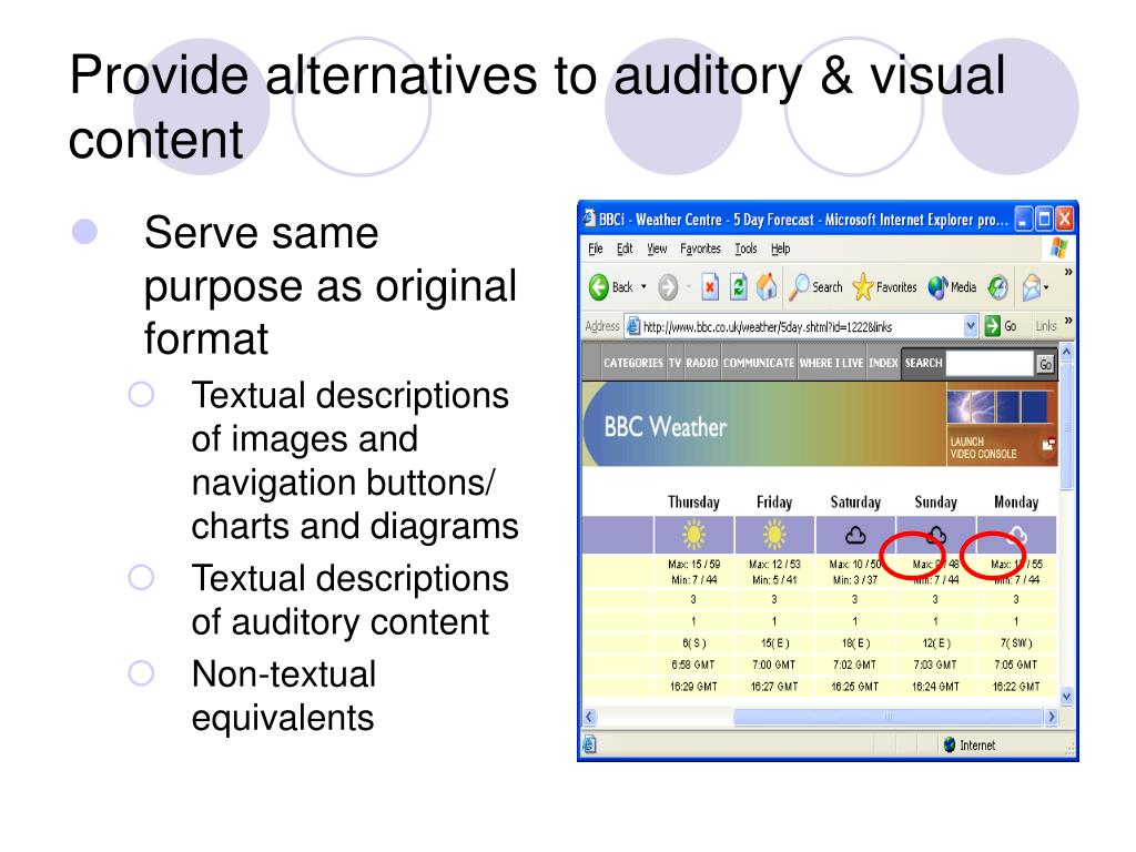 Provide alternatives to auditory & visual content