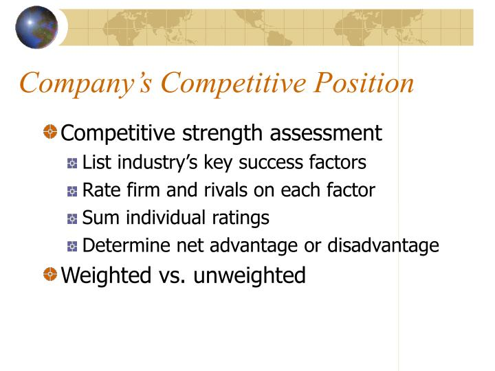 Companys Competitive Position Strength Assessment