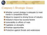 company s strategic issues