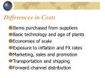 differences in costs