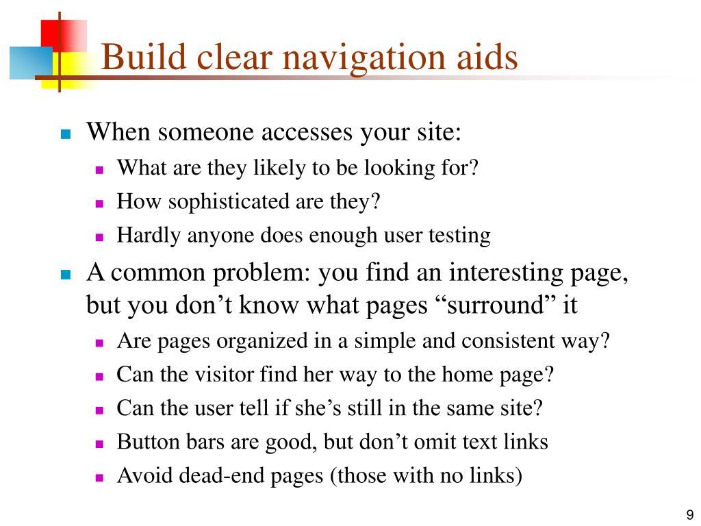 Build clear navigation aids
