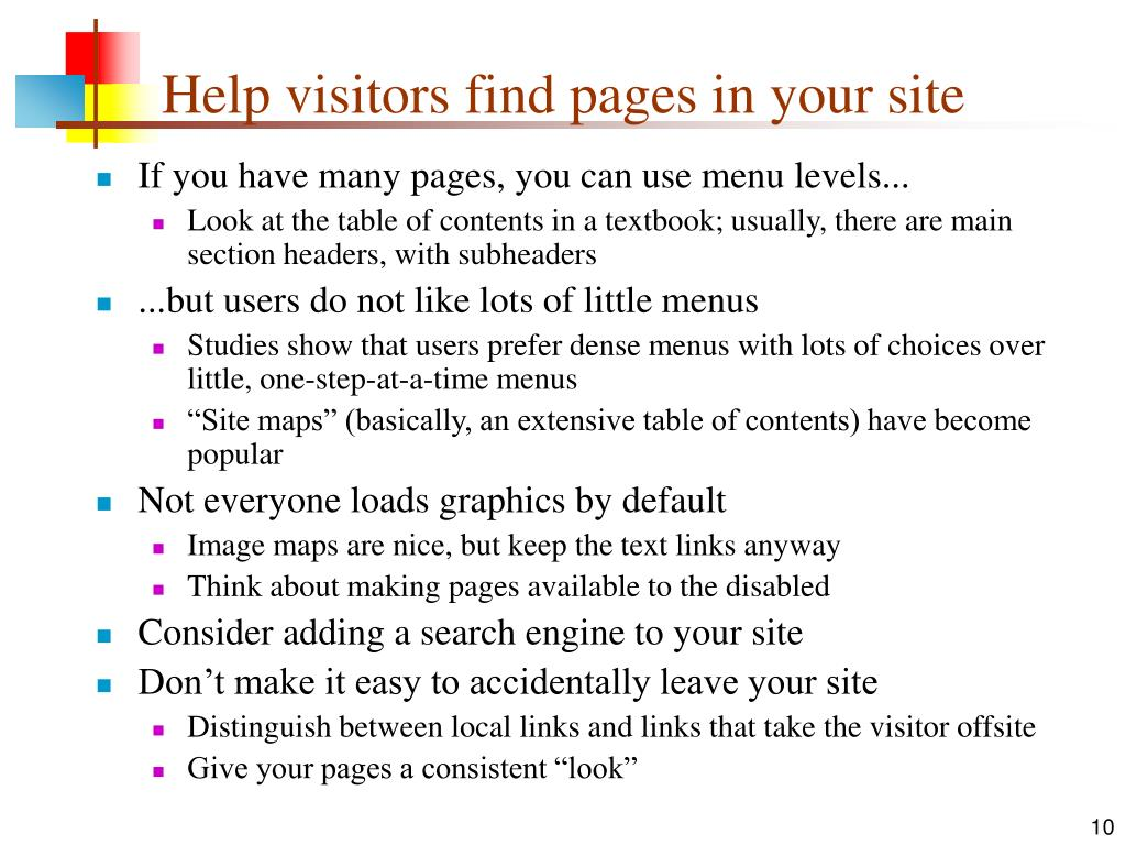Help visitors find pages in your site