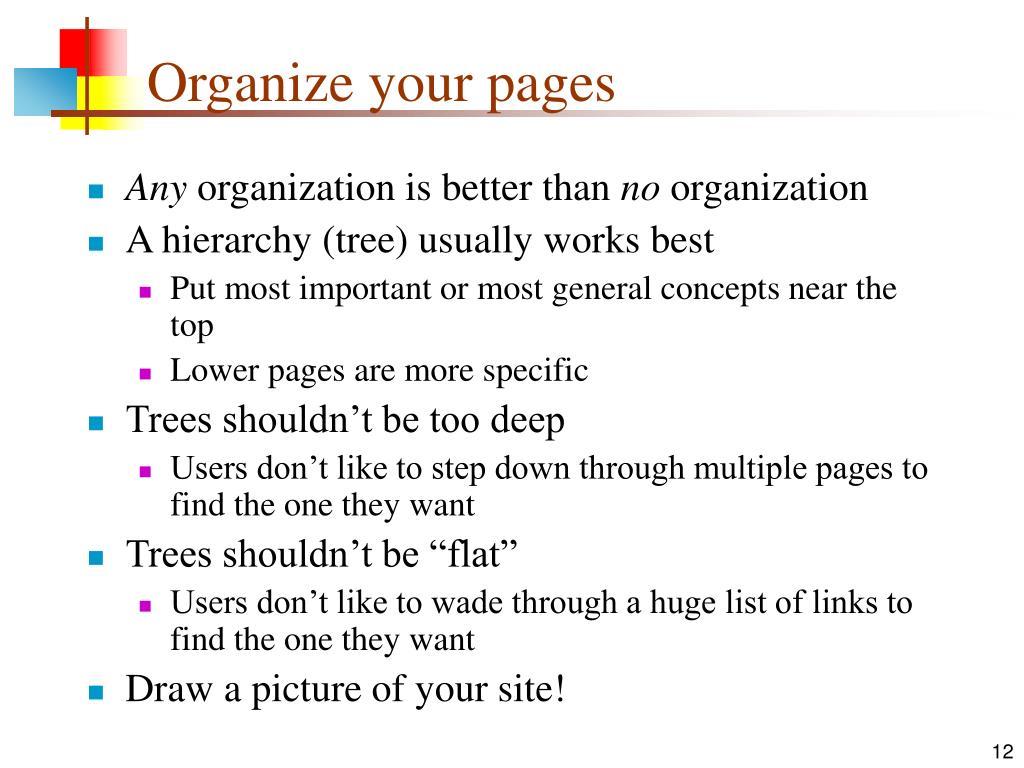 Organize your pages