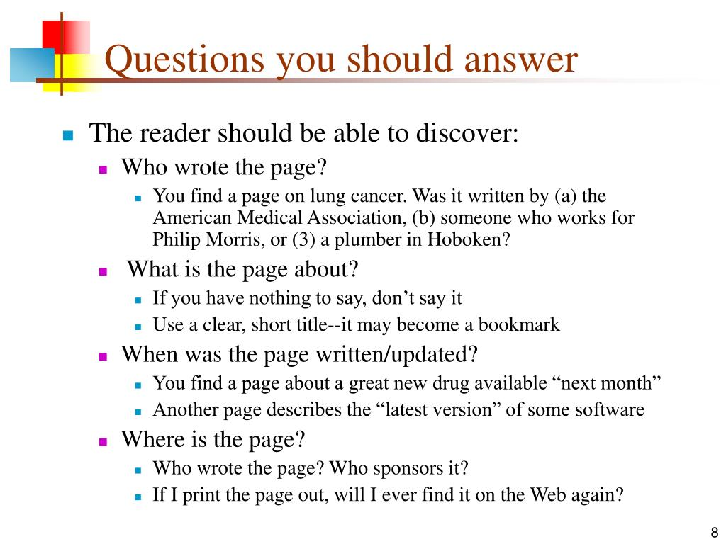 Questions you should answer