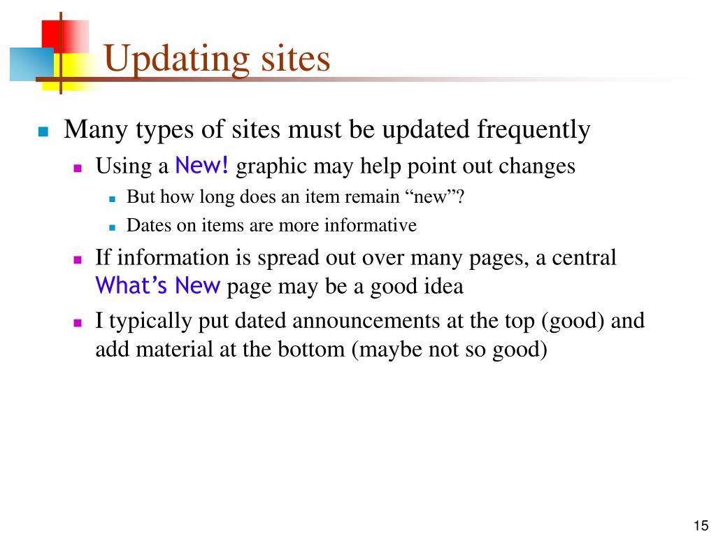 Updating sites