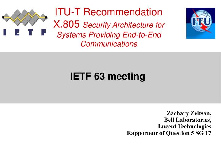 itu t recommendation x 805 security architecture for systems providing end to end communications n.