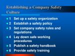 establishing a company safety culture