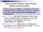 cross cultural evidence about gender social constructionism