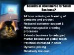benefits of ecommerce for small business