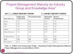project management maturity by industry group and knowledge area