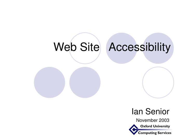 web site accessibility n.