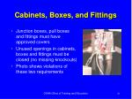 cabinets boxes and fittings