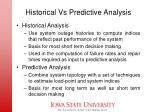 historical vs predictive analysis