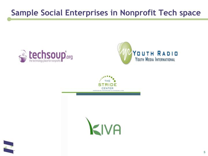 Sample Social Enterprises in Nonprofit Tech space