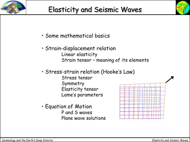 elasticity and seismic waves n.