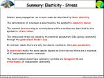 summary elasticity stress
