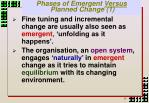 phases of emergent versus planned change 1