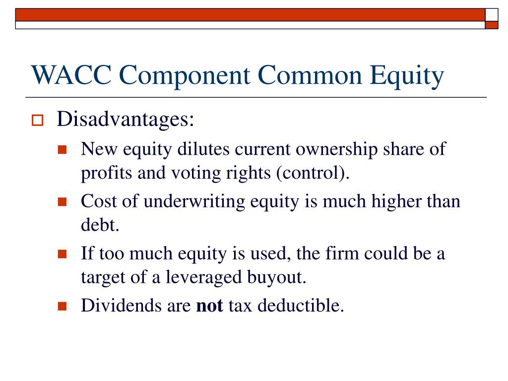 WACC Component Common Equity