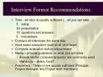 interview format recommendations