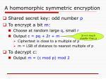 a homomorphic symmetric encryption