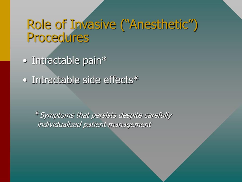"Role of Invasive (""Anesthetic"") Procedures"