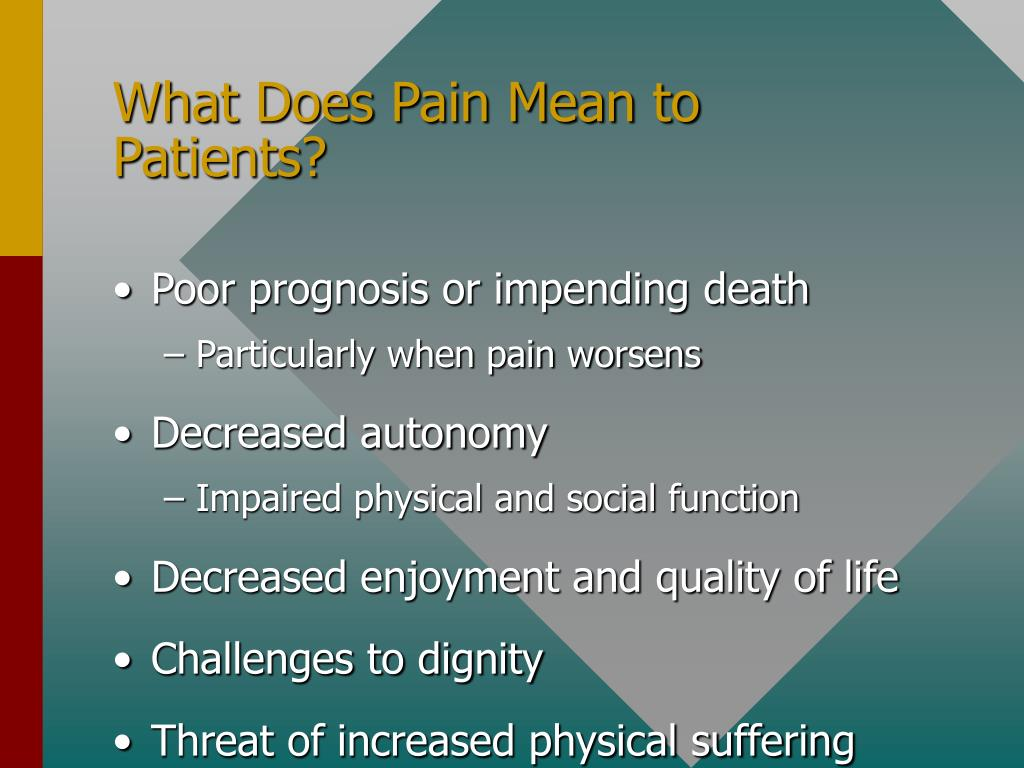 What Does Pain Mean to Patients?
