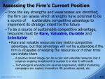 assessing the firm s current position15