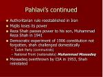 pahlavi s continued