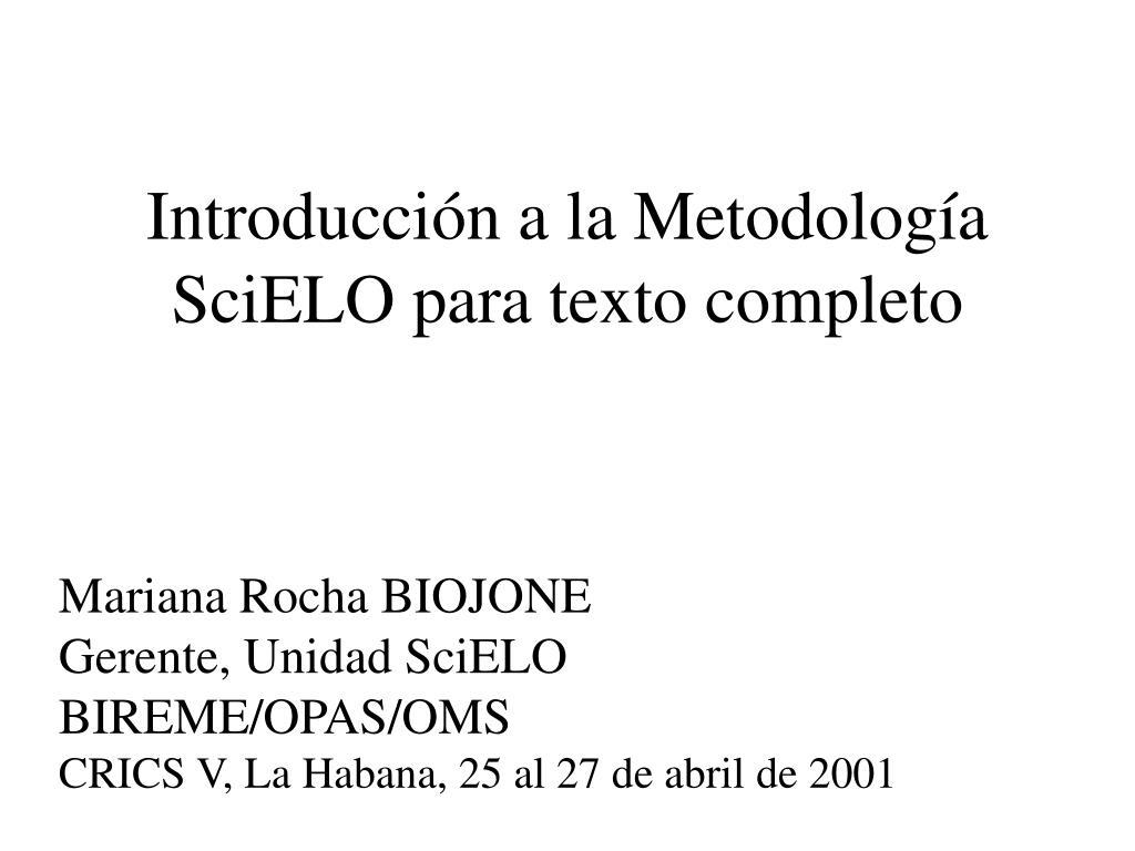 introducci n a la metodolog a scielo para texto completo l.