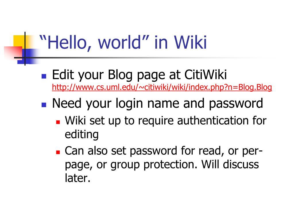 """""""Hello, world"""" in Wiki"""