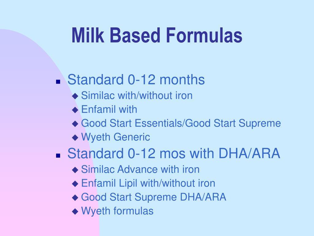 Milk Based Formulas