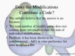does the modifications constitute a code