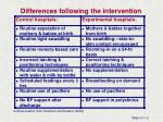differences following the intervention
