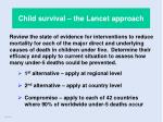 child survival the lancet approach