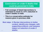 conclusions on under 5 deaths that could be prevented in india