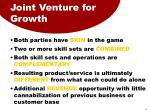 joint venture for growth