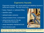 ergonomic hazards