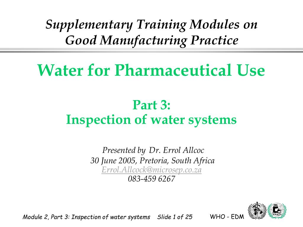 supplementary training modules on good manufacturing practice l.