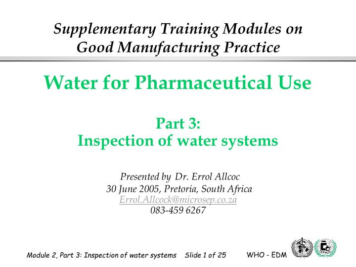 supplementary training modules on good manufacturing practice n.