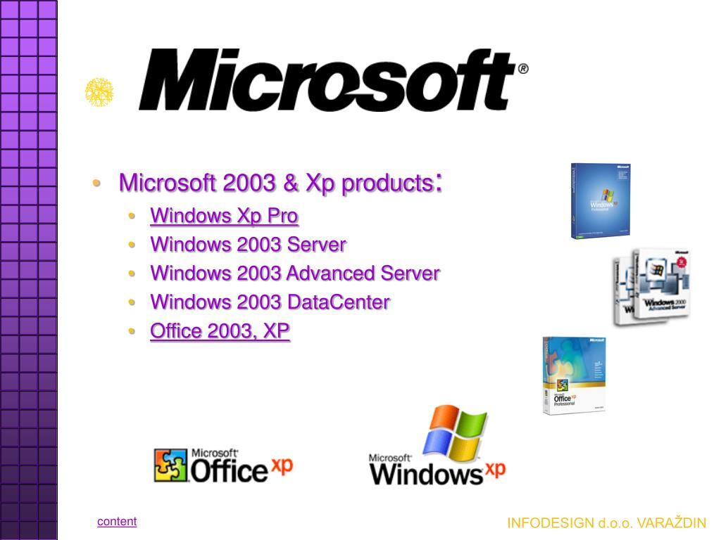 Microsoft 2003 & Xp products