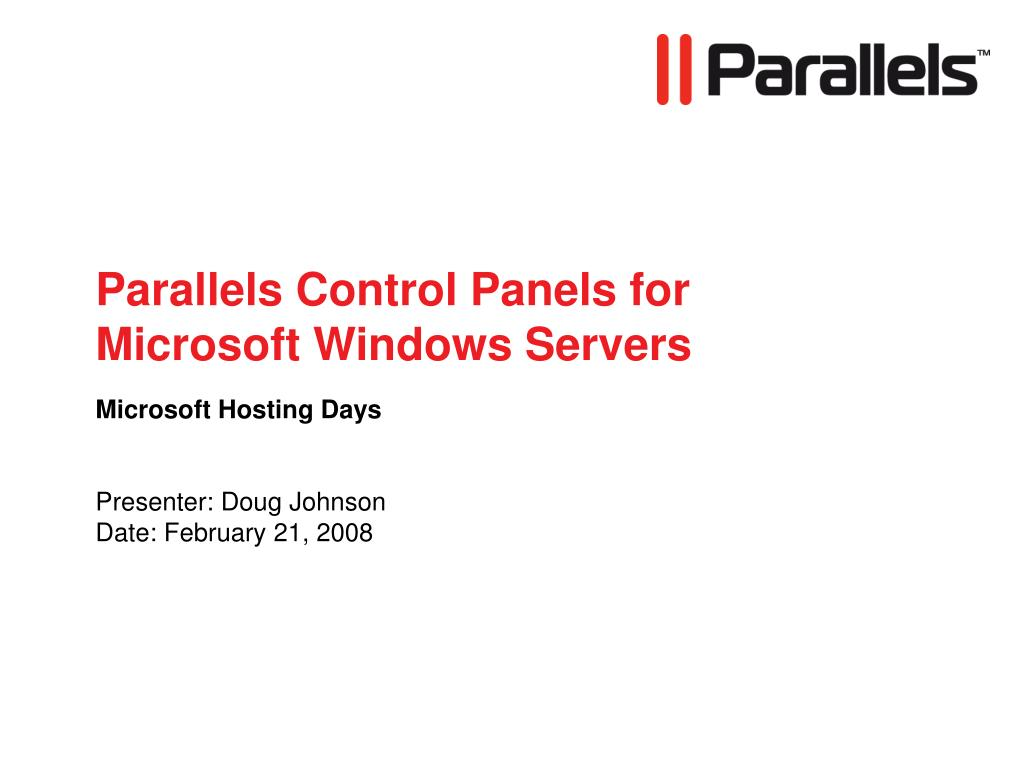 parallels control panels for microsoft windows servers l.